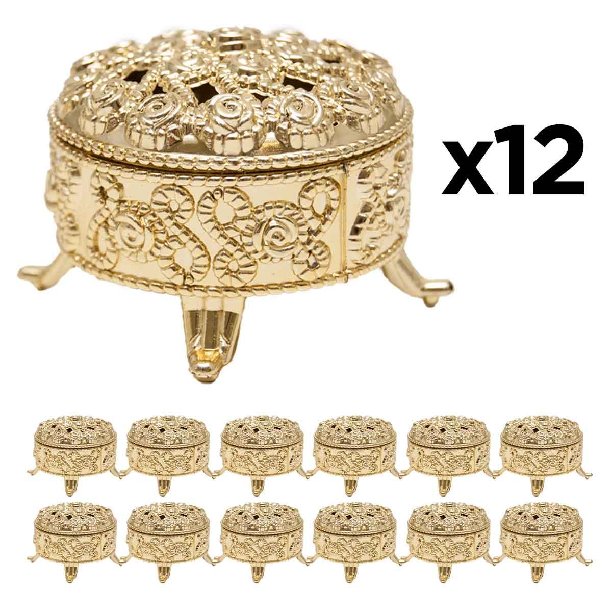 Kit 12 Mini Porta Joias Dourados Lembrancinhas Decoração