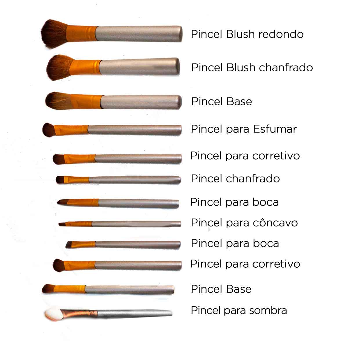 Kit 12 Pincéis Maquiagem C/ Estojo Pincel Blush