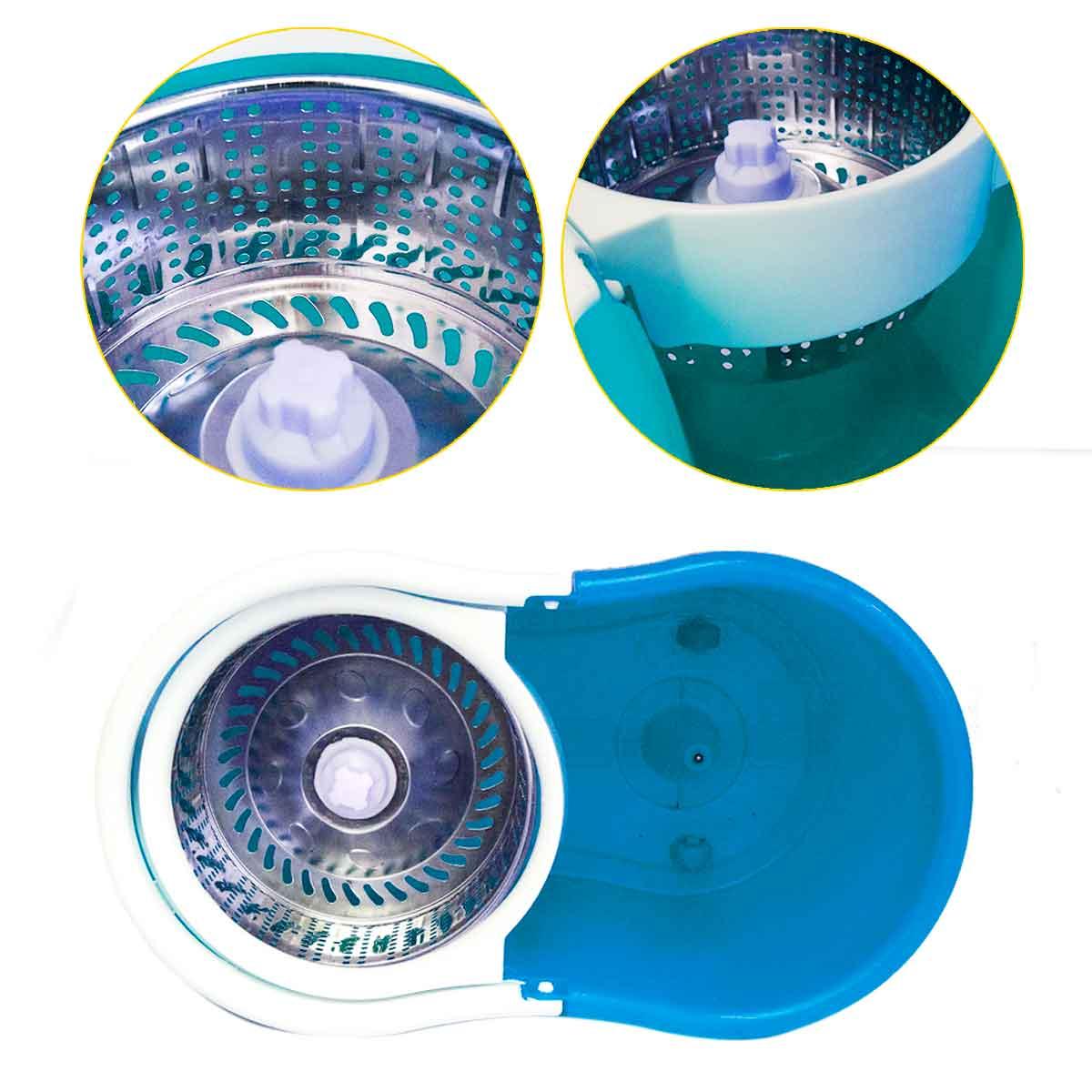 Kit 2 Balde Spin Mop 360 Centrifuga Inox 4 Refis Microfibra