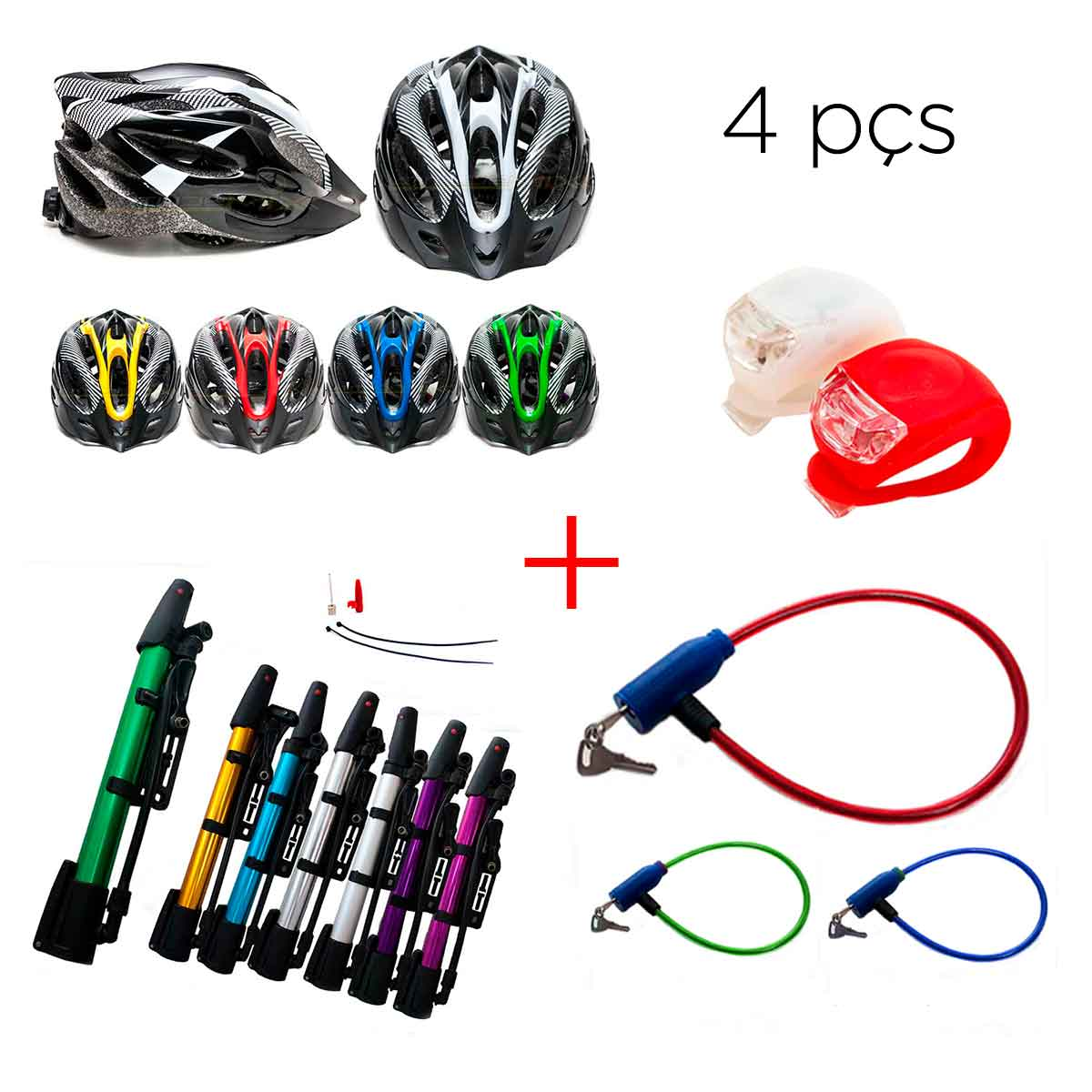 Kit Ciclismo Capacete Ciclista Bike+farol+cadeado+bomba