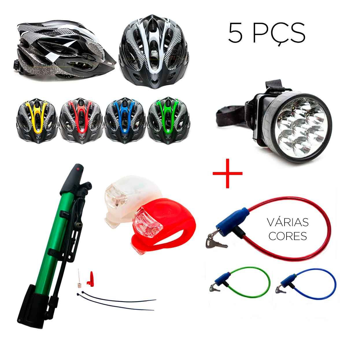 Kit Ciclismo Capacete Ciclista Bike+lant+farol+cadeado+bomba