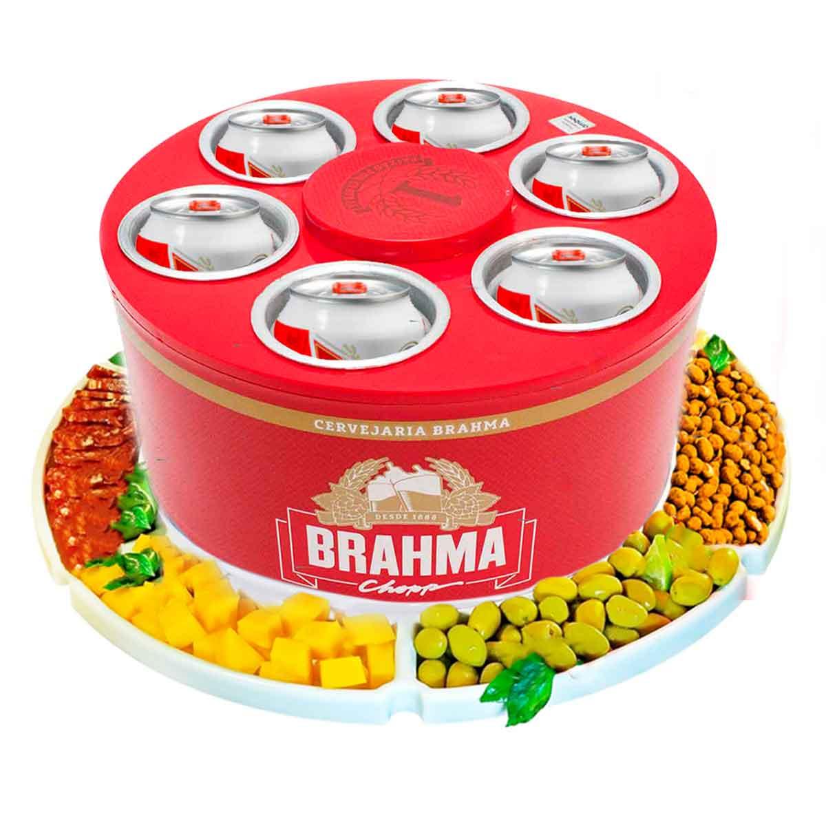 KIT Cooler 3G Brahma 6 Latas Cerveja + Petisqueira Giratória
