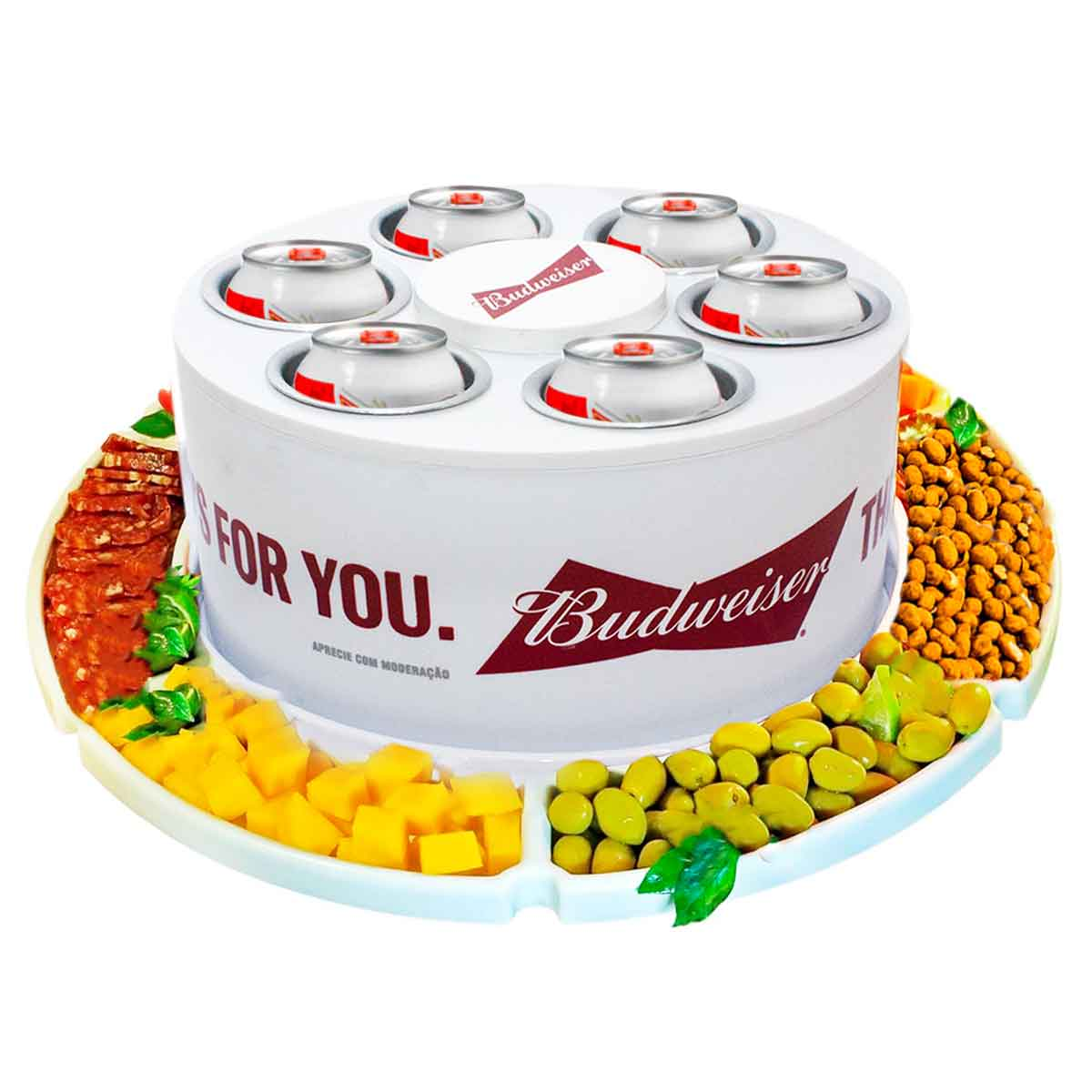 KIT Cooler 3G Budweiser 6 Latas Cerveja + Petisqueira Giratória