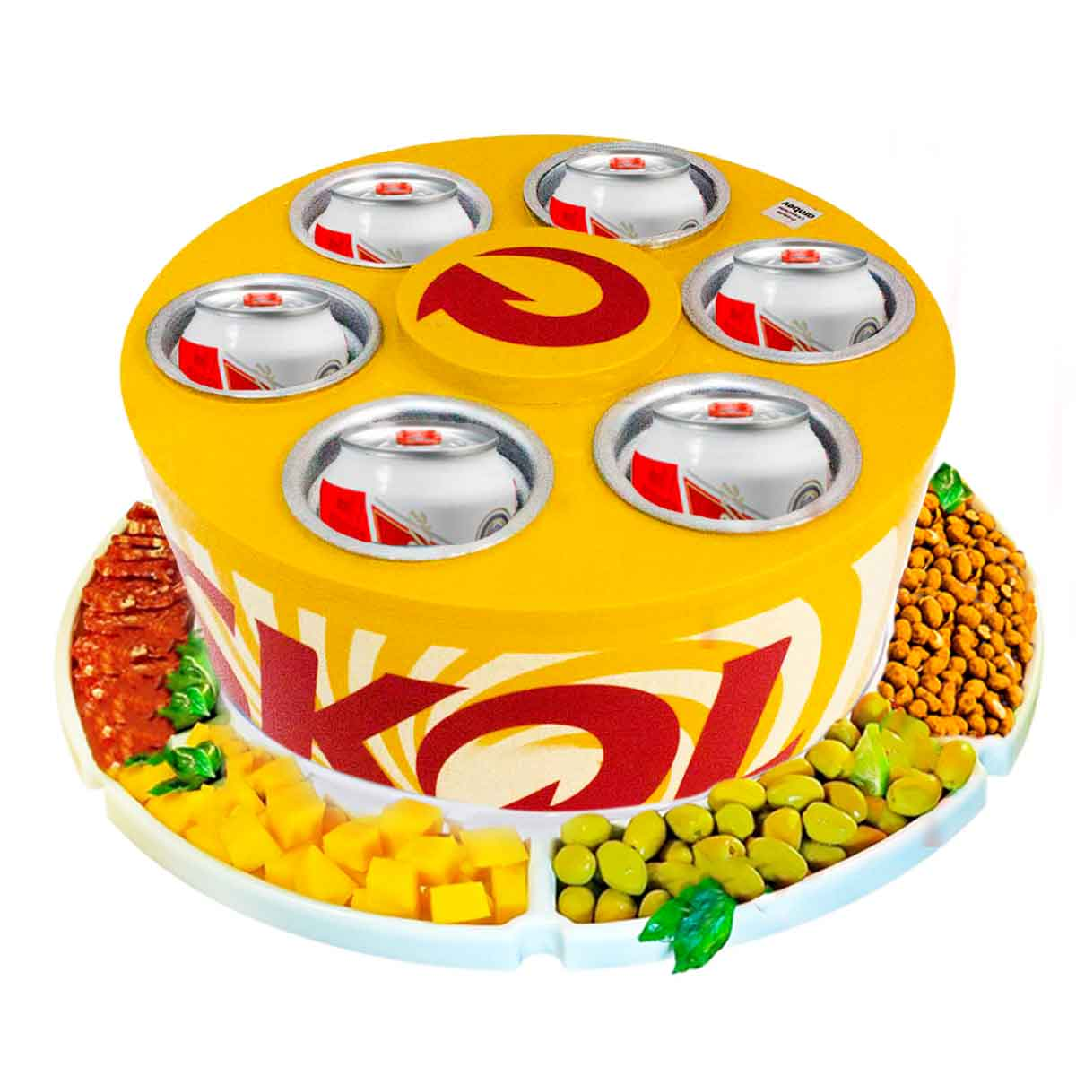 KIT Cooler 3G Skol 6 Latas Cerveja + Petisqueira Giratória