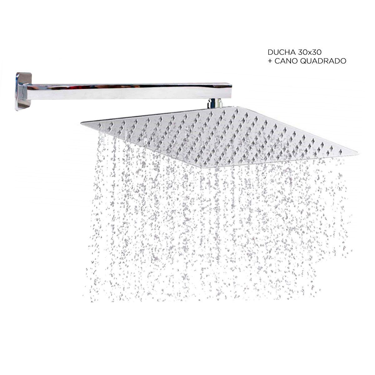 Kit Ducha Inox Chuveiro 30x30 Cm + Cano 35 Cm Quadrada