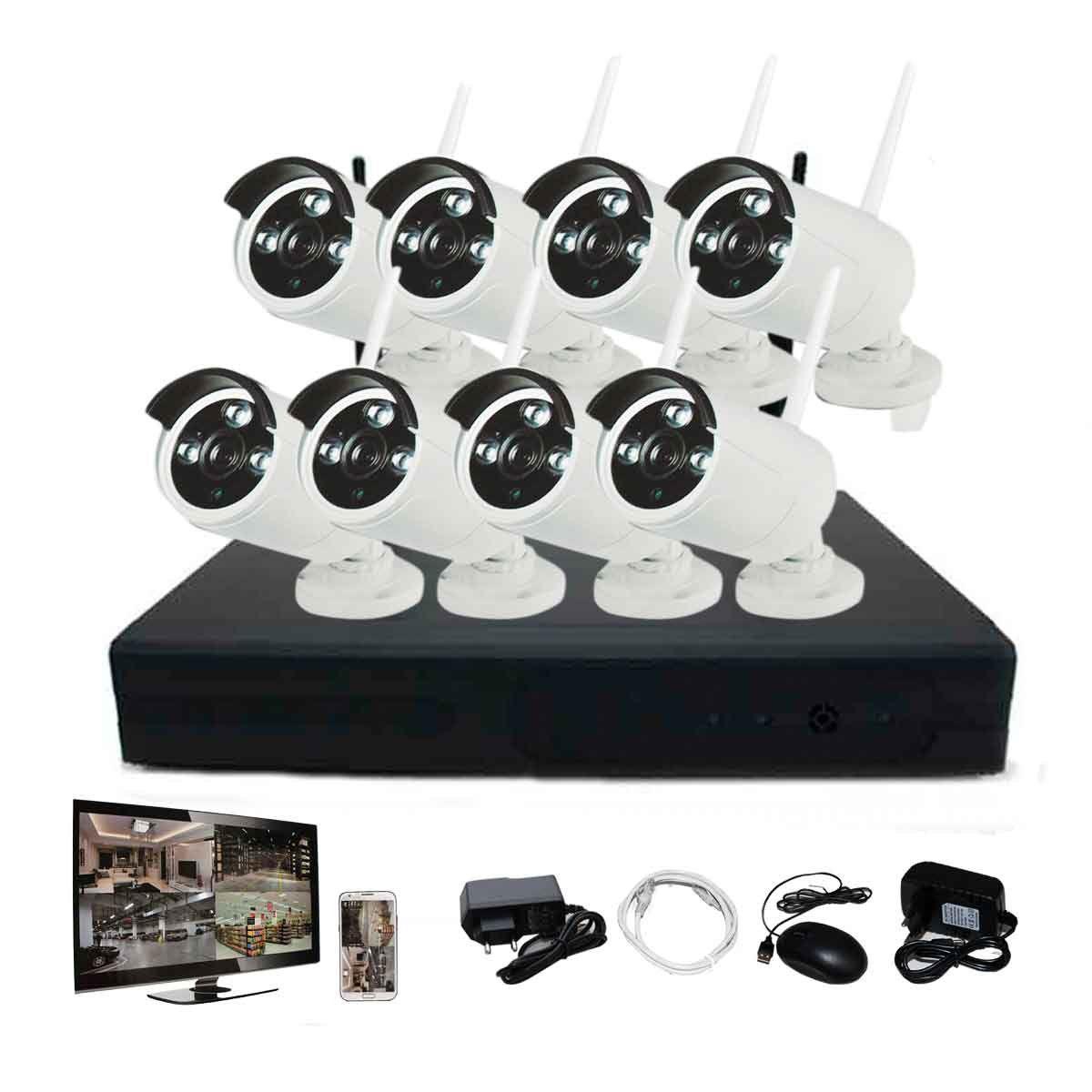 Kit Nvr 8 Câmeras Infra Wi-fi Hd 960p P2p Rgb Sem Fio 10-20m