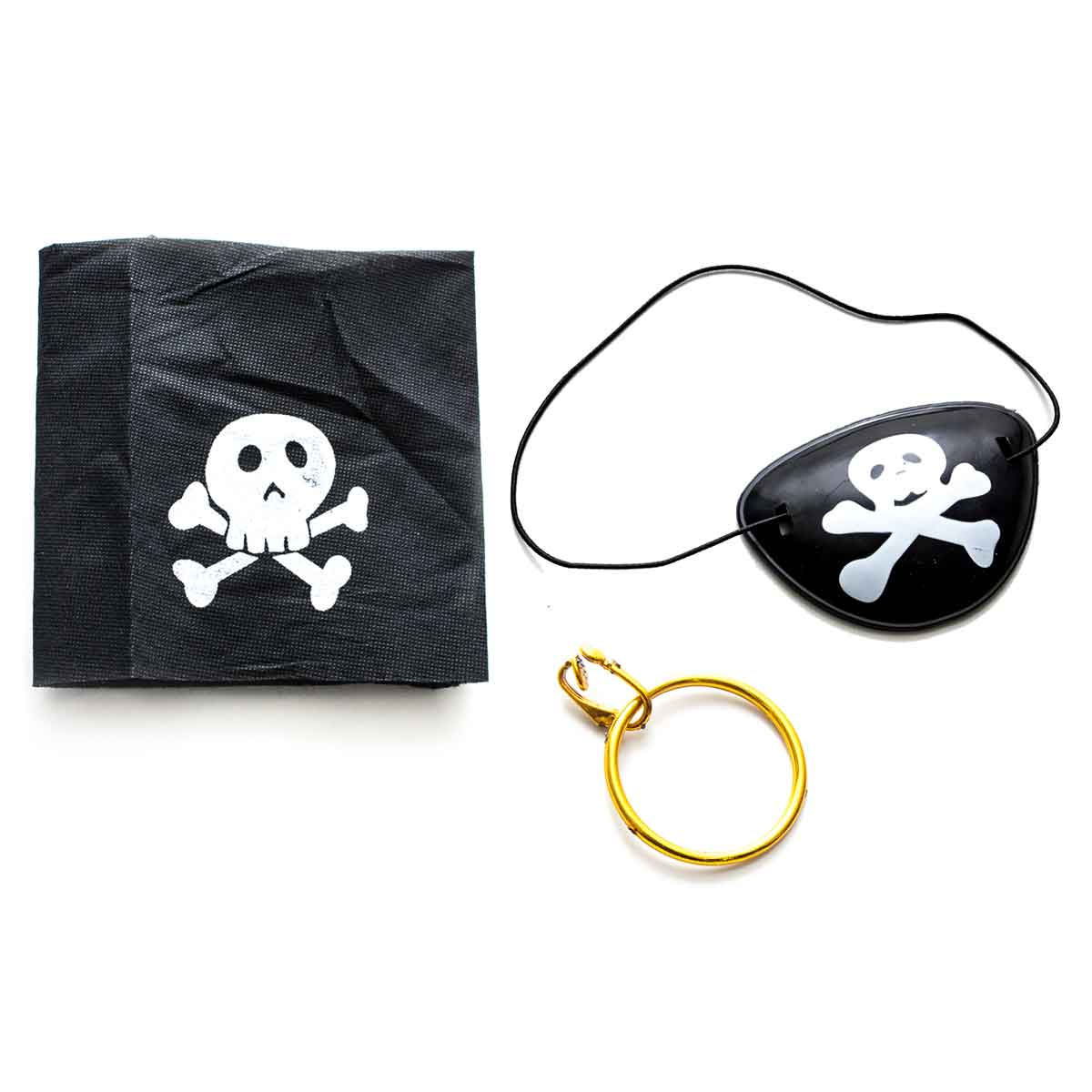 Kit Pirata 3 Peças Tapa Olho Lenço Brinco Fantasia Festa
