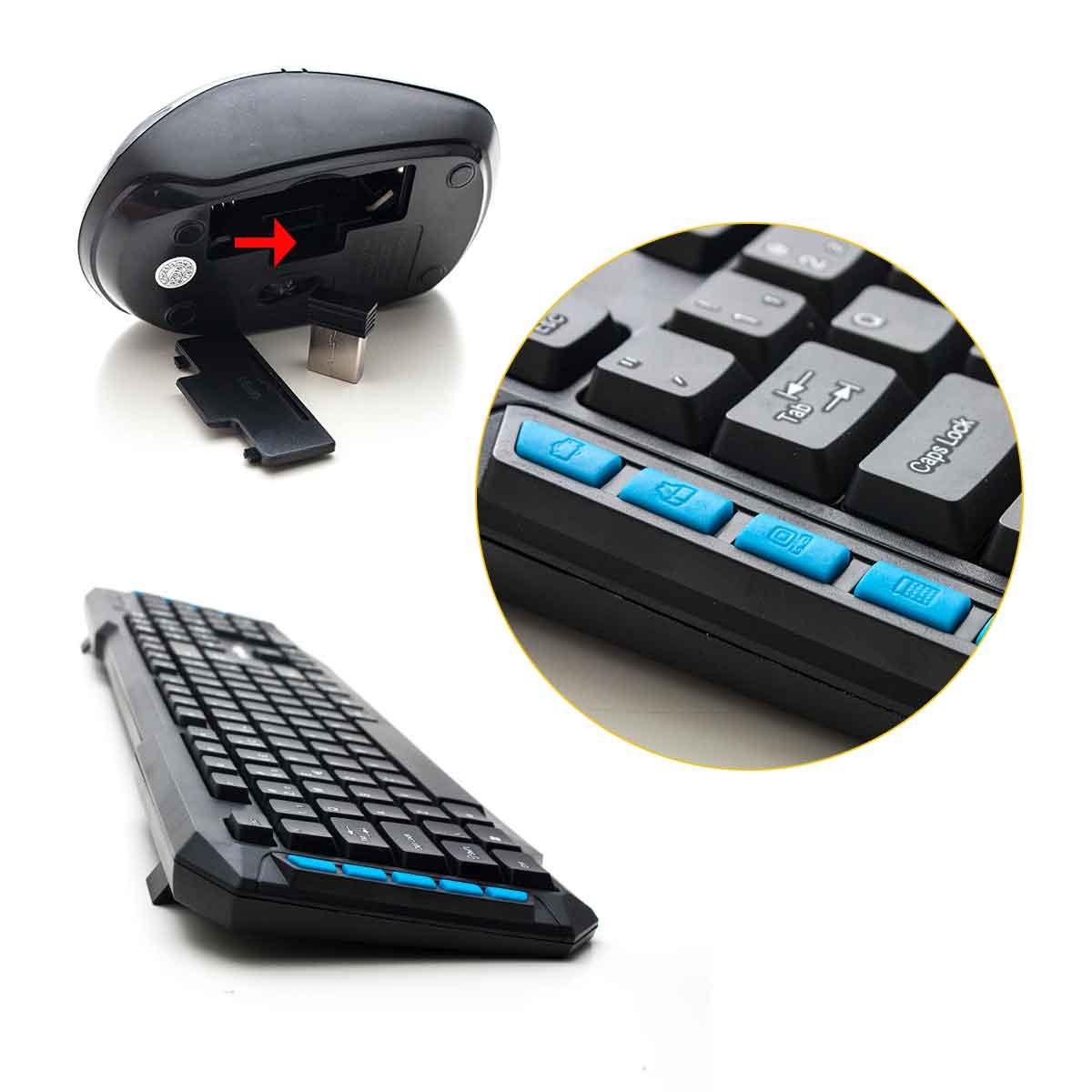 Kit Teclado Mouse Sem Fio 1000dpi Wireless Gamer 2.4ghz