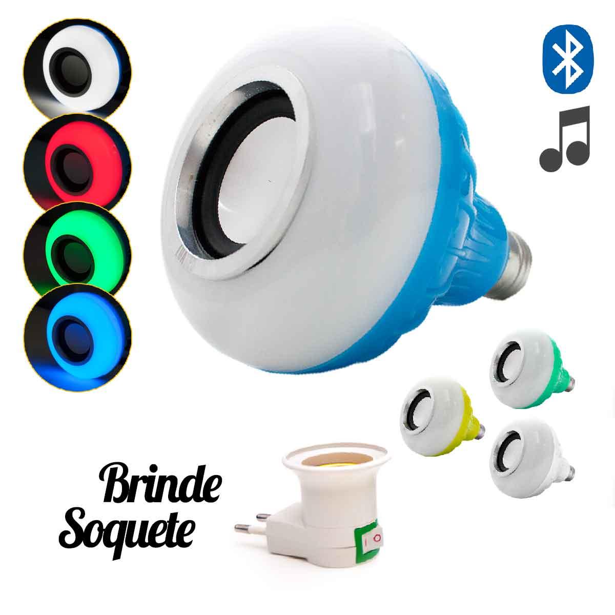 Lâmpada Led Bluetooth Rgb 6w Caixa Som Controle Remoto