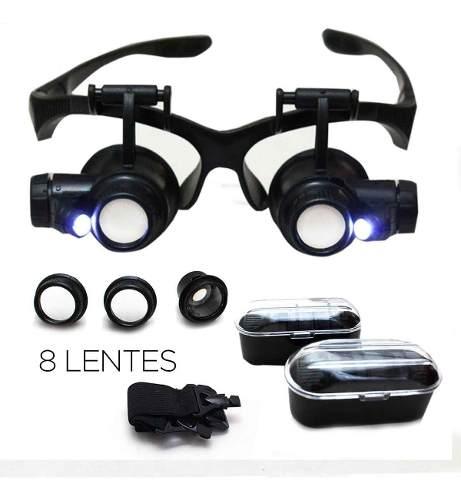 Lupa Estética Cabeça Led Óculos Luz com 2 Leds 8 Lentes