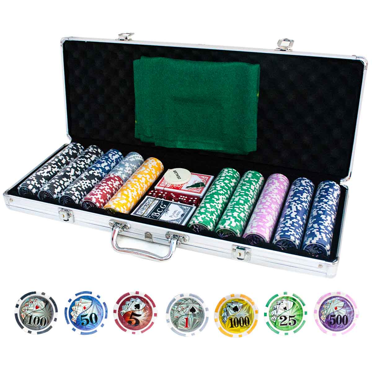 Maleta Poker 500 Fichas Com Numeração Abs Metal Alça