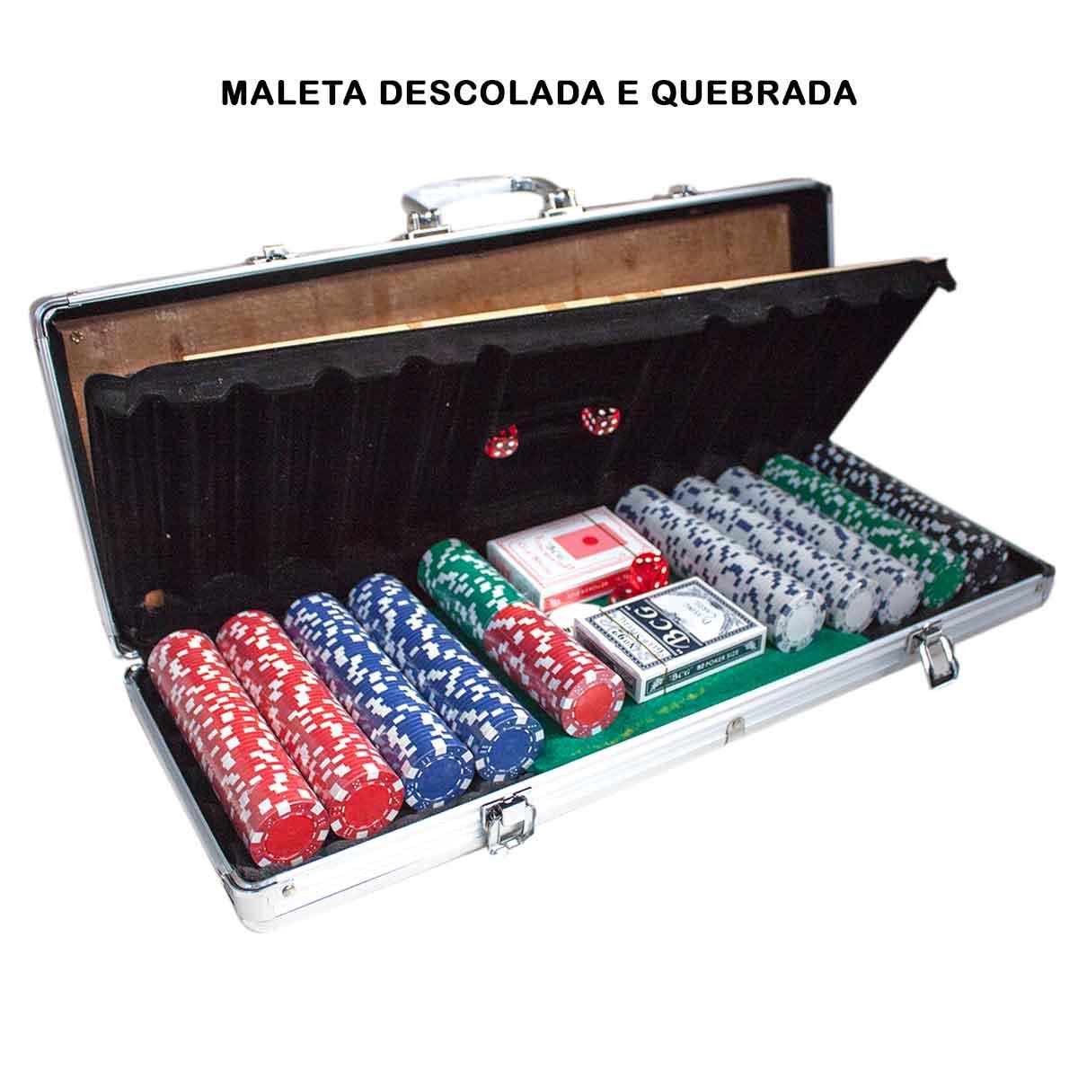 Maleta Poker 500 Fichas Sem Numeração Abs TAMPA DESCOLADA