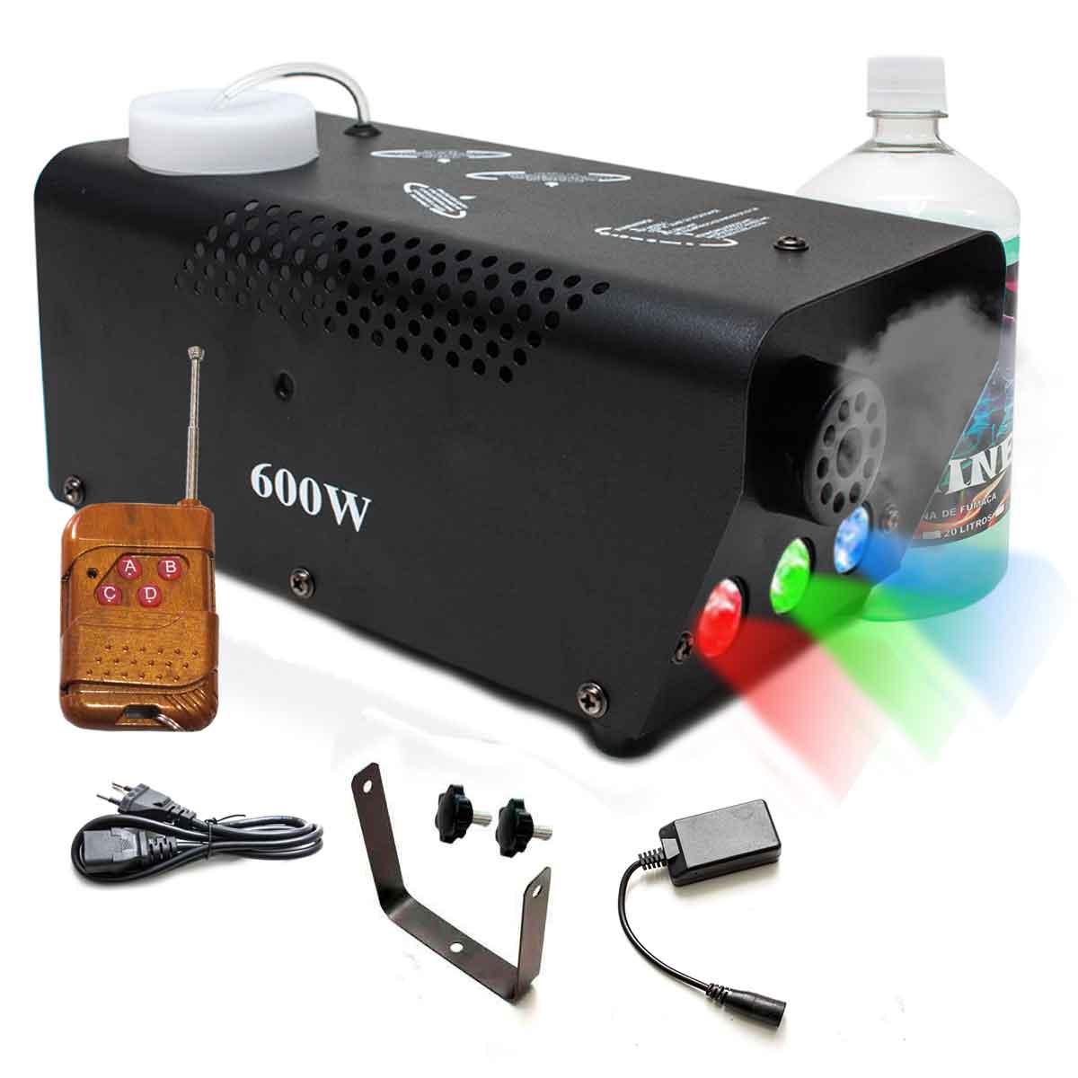 Máquina Fumaça Rgb 600w Iluminação Sem Fio Controle Festa