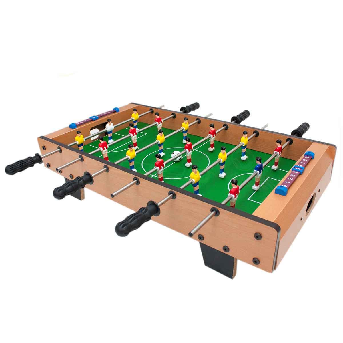 Mini Mesa Pebolim Totó 18 Jogadores Futebol Compacto Mdf