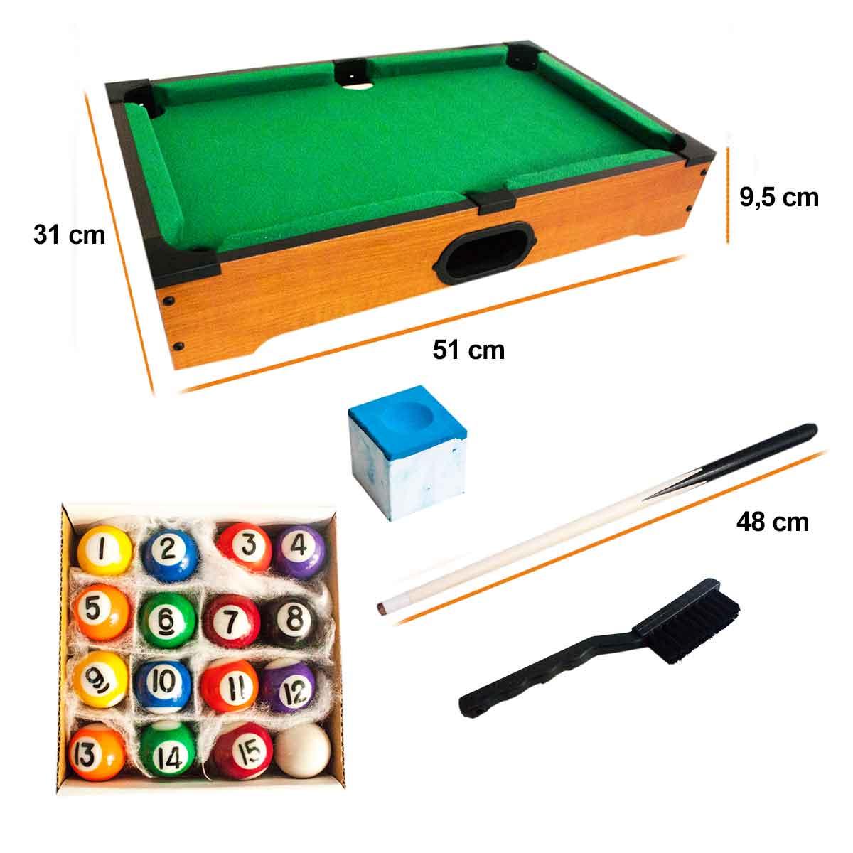 Mini Mesa Sinuca Snooker Bilhar Madeira Taco Bola e Giz