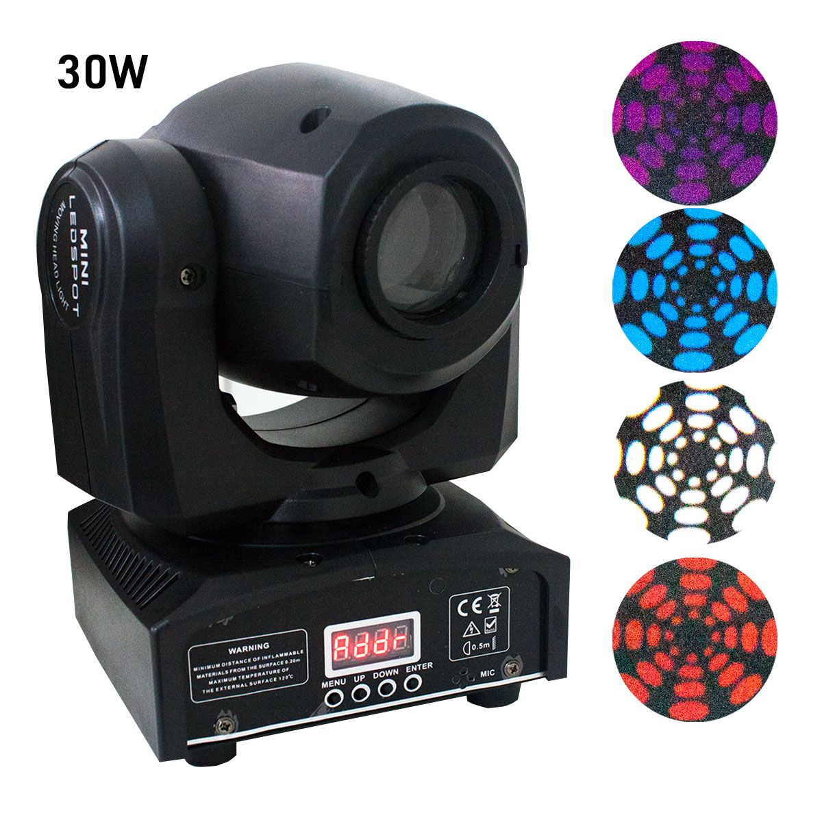Mini Moving Head Beam Spot Led 30w Dmx 7 Desenhos Cores