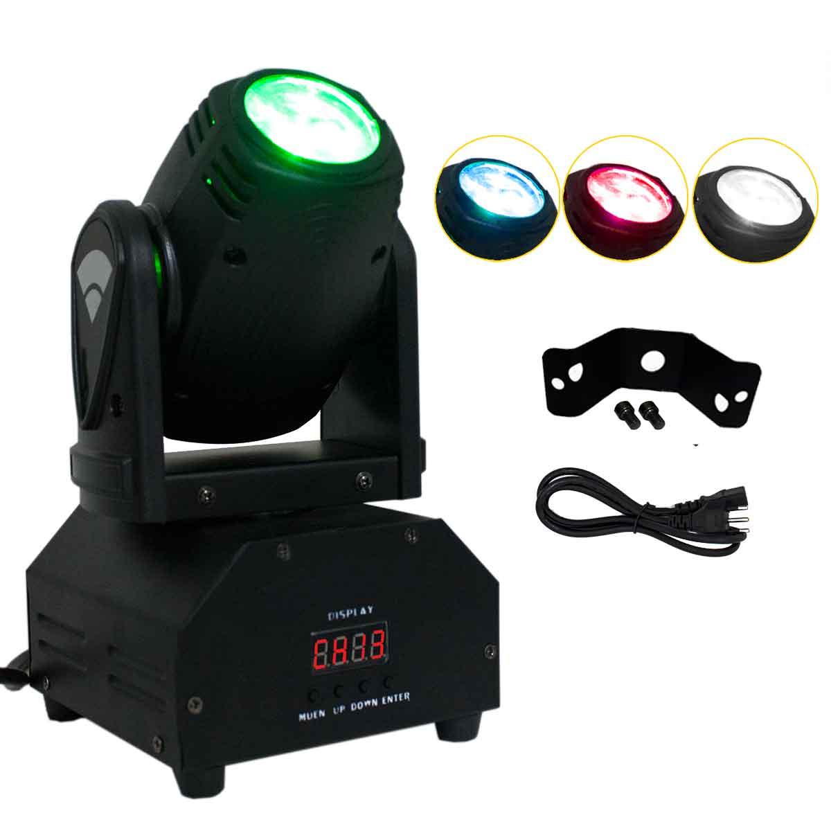 Mini Moving Head LED 10w Iluminação RGBW DMX Festa Balada