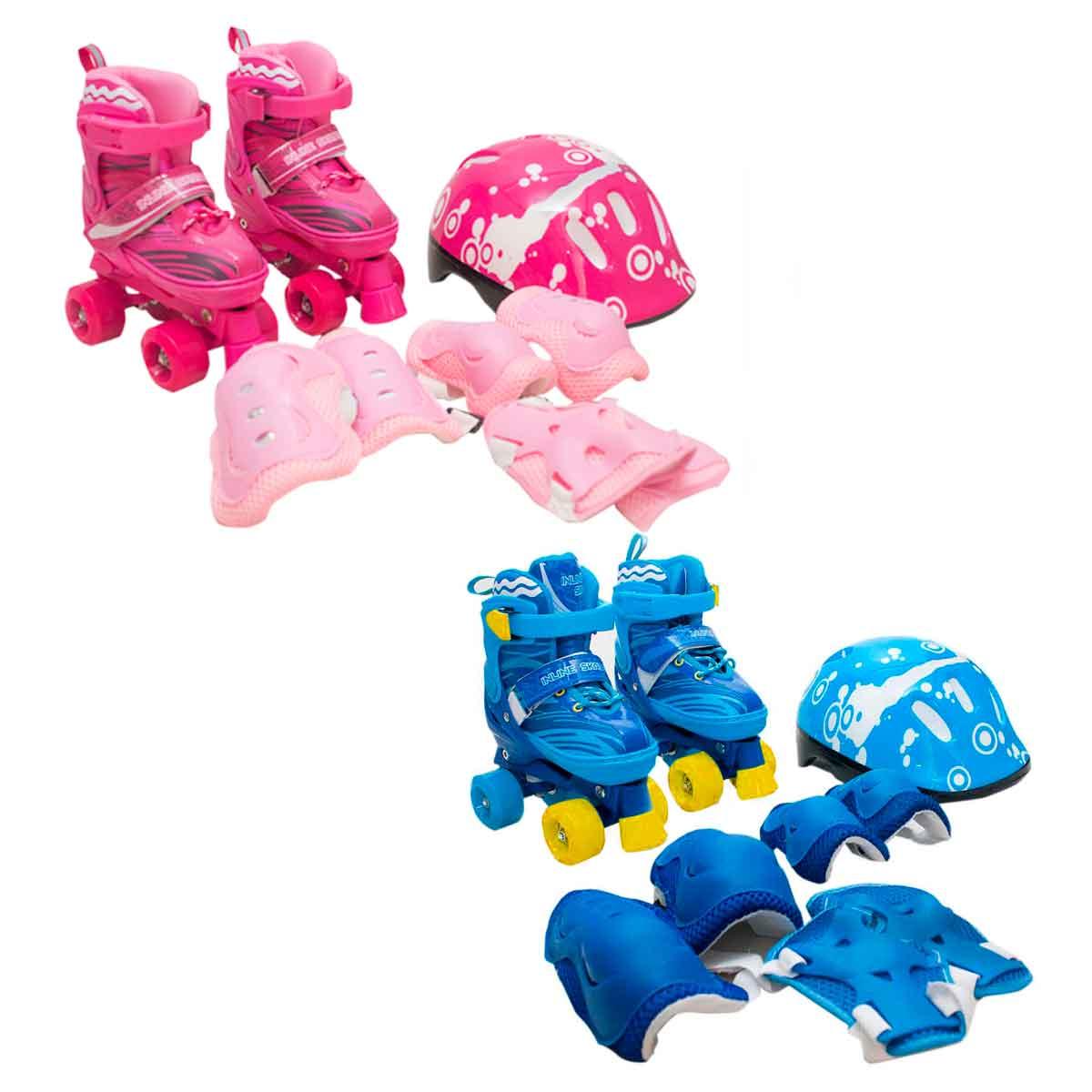 Patins Infantil Roller 4 Rodas + Capacete Proteção Ajustável