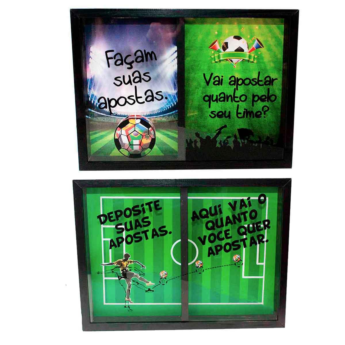 Quadro Duplo Bolão Apostas 25x35cm Futebol Copa Decoração