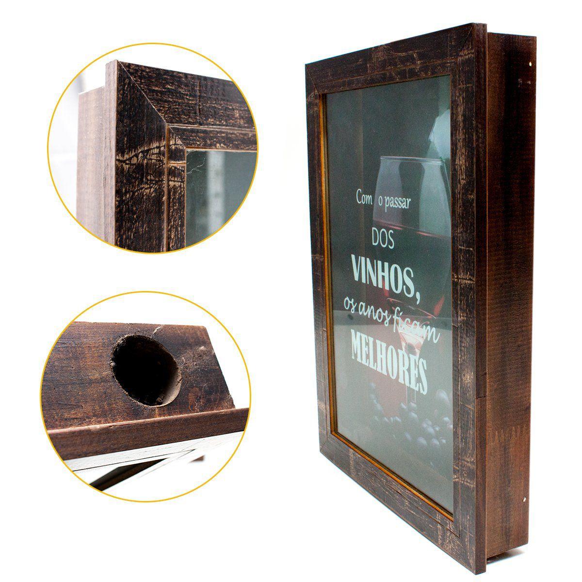 Quadro Porta Rolha Vinho 25x35 Madeira Mdf Vinho Decoração
