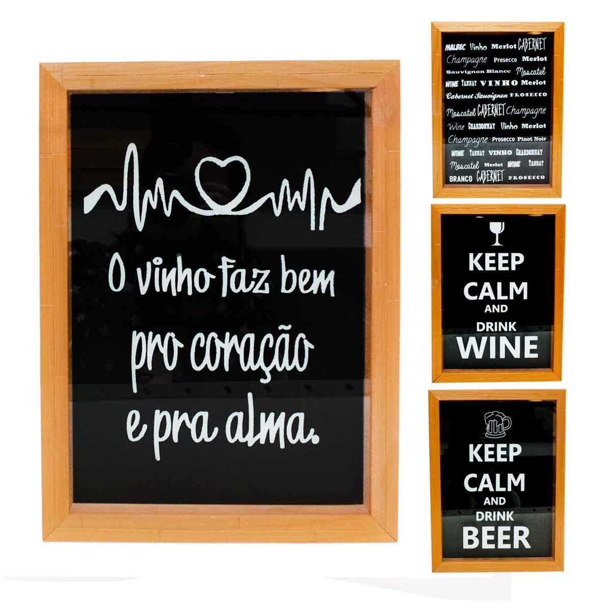 Quadro Porta Rolha Vinho Cerveja Mdf 35x25 Decoração