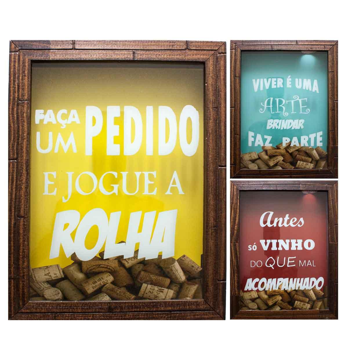 Quadro Porta Rolha Vinho Madeira Mdf Decoração 20x25cm