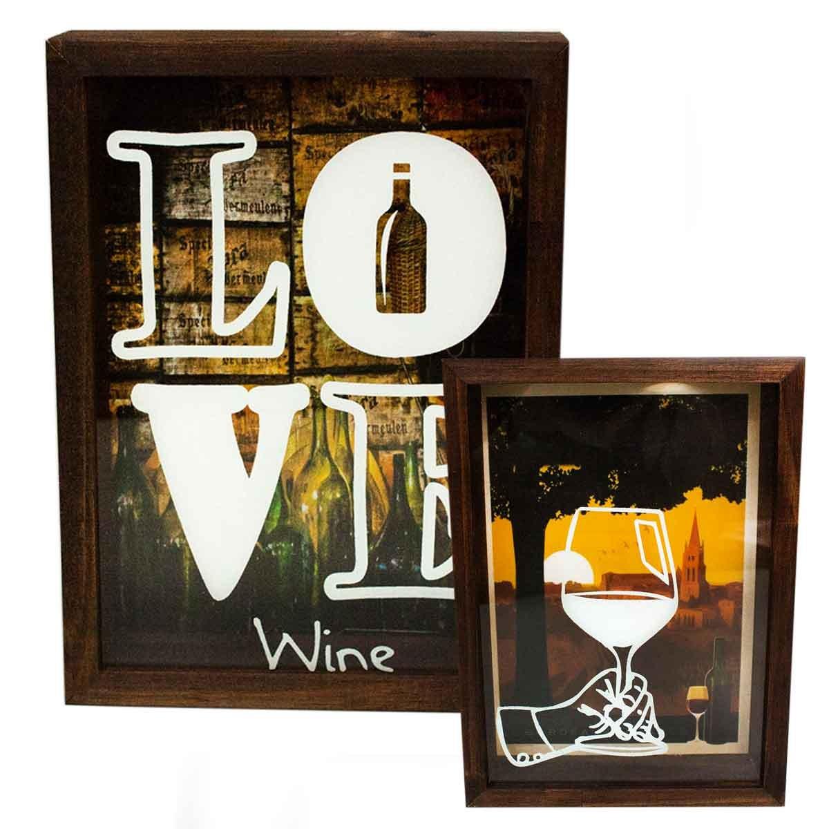 Quadro Porta Rolhas 15x20 Decoração Vinho Mdf Mesa