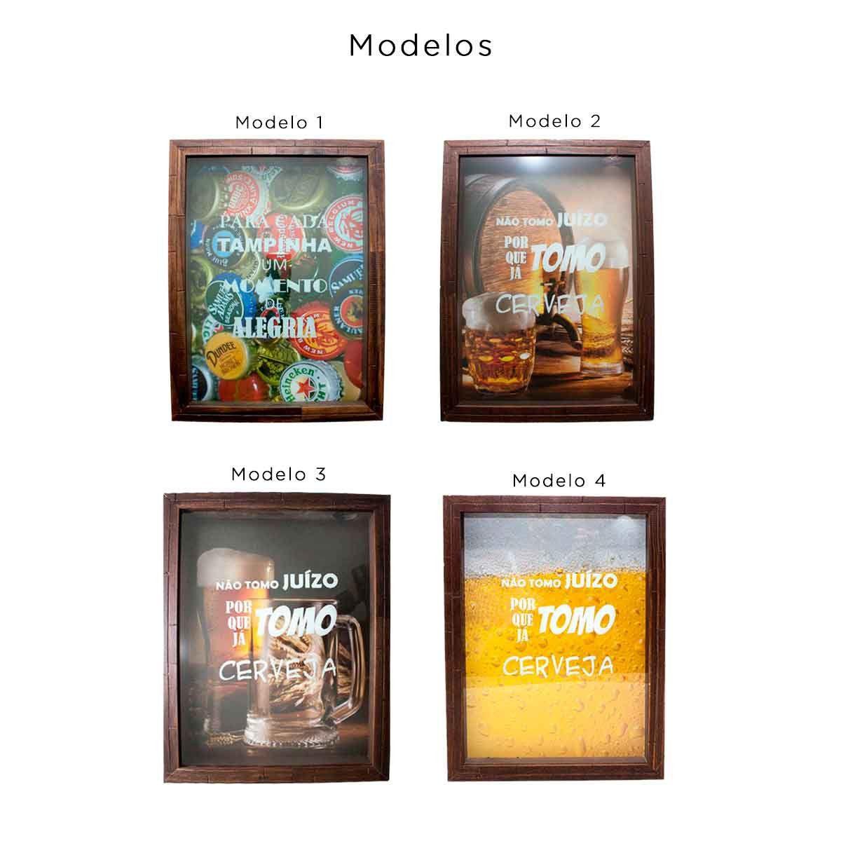 Quadro Porta Tampinhas Cerveja Madeira 25x35 Mdf Decoração