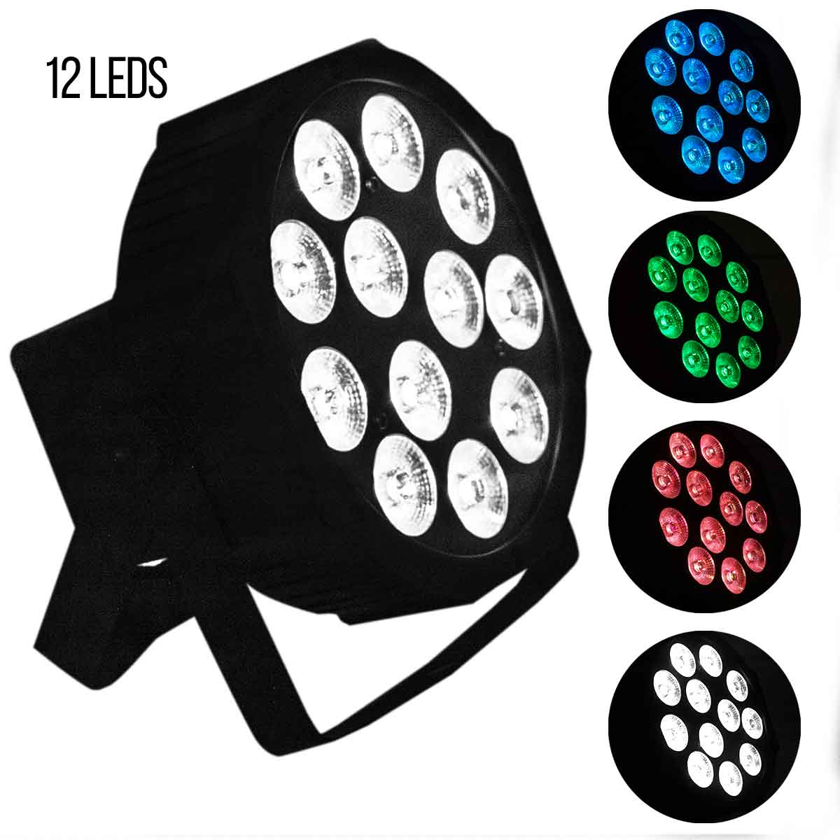 Refletor Led Par Slim Rgbw 12 Leds 12w Canhão Quadriled
