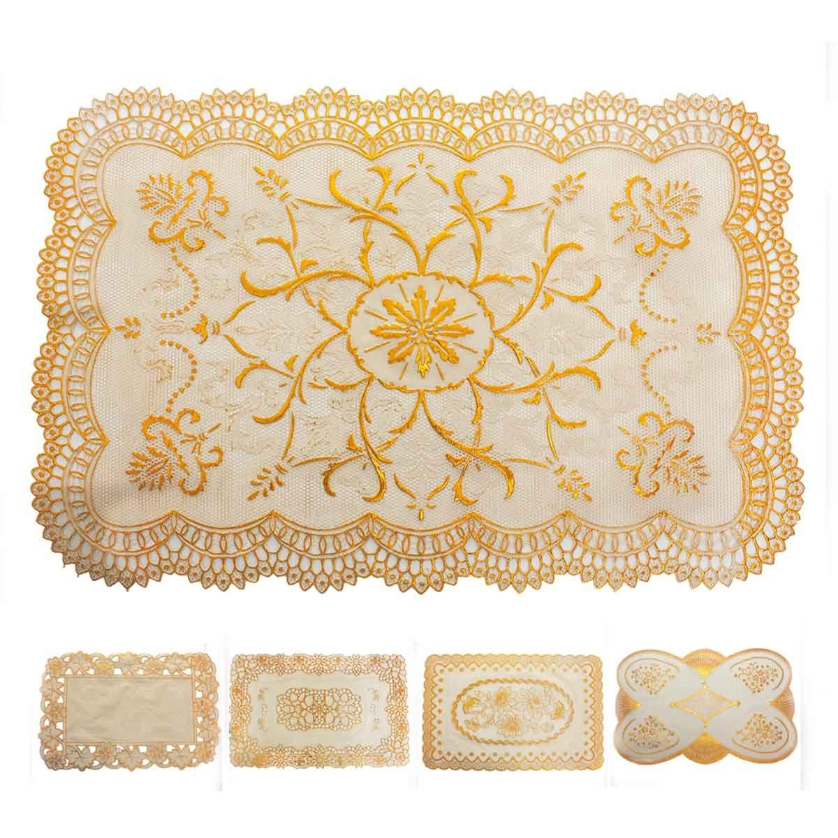 Toalha Jogo Americano Plástico Bordado Dourado Cozinha