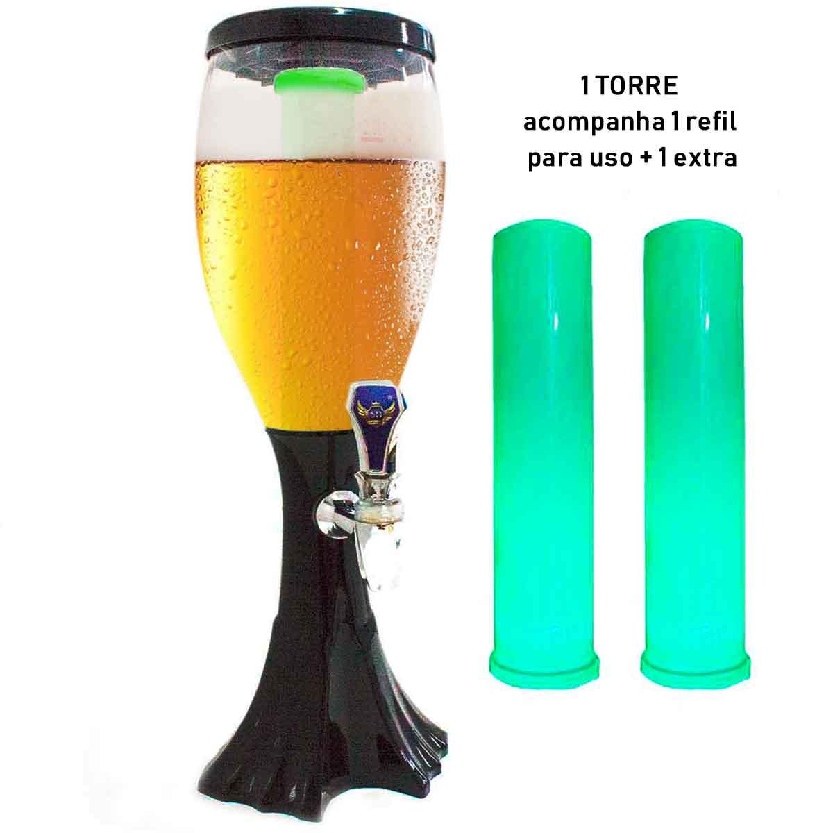 Torre Chopp Cerveja Gelada Chopeira Luz De Led + Refil