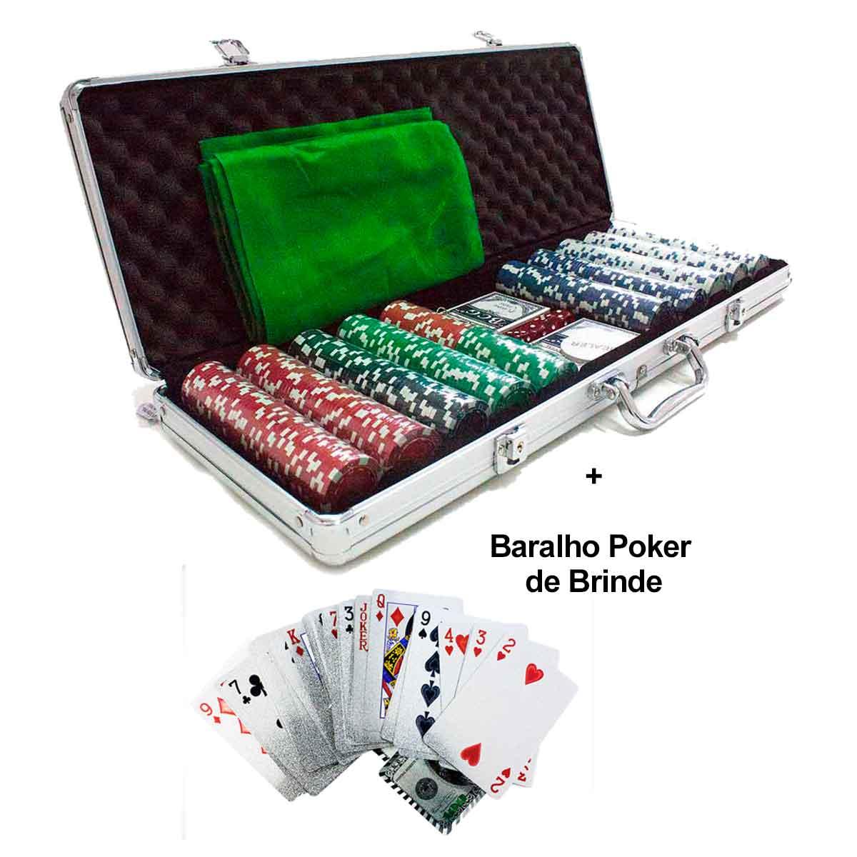 Maleta Poker 500 Fichas Sem Numeração Completo + Baralho