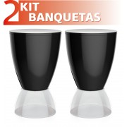 KIT 2 BANQUETAS ARGO ASSENTO COLOR BASE CRISTAL PRETO