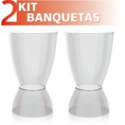 KIT 2 BANQUETAS ARGO ASSENTO CRISTAL BASE COLOR CRISTAL