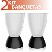 KIT 2 BANQUETAS ARGO ASSENTO CRISTAL BASE COLOR PRETO