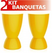 KIT 2 BANQUETAS ARGO COLOR AMARELO