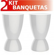 KIT 2 BANQUETAS ARGO COLOR BRANCO