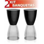 KIT 2 BANQUETAS BERY ASSENTO COLOR BASE CRISTAL PRETO