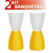 KIT 2 BANQUETAS BERY ASSENTO CRISTAL BASE COLOR AMARELO