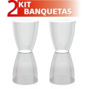KIT 2 BANQUETAS BERY ASSENTO CRISTAL BASE COLOR CRISTAL
