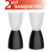 KIT 2 BANQUETAS BERY ASSENTO CRISTAL BASE COLOR PRETO
