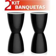 KIT 2 BANQUETAS BERY COLOR PRETO