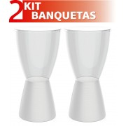 KIT 2 BANQUETAS CARBO ASSENTO CRISTAL BASE COLOR BRANCO