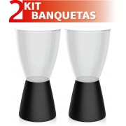 KIT 2 BANQUETAS CARBO ASSENTO CRISTAL BASE COLOR PRETO