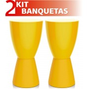 KIT 2 BANQUETAS CARBO COLOR AMARELO