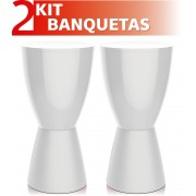 KIT 2 BANQUETAS CARBO COLOR BRANCO