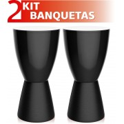 KIT 2 BANQUETAS CARBO COLOR PRETO