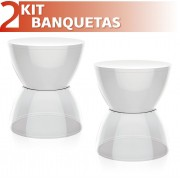KIT 2 BANQUETAS HYDRO ASSENTO COLOR BASE CRISTAL BRANCO