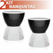 KIT 2 BANQUETAS HYDRO ASSENTO COLOR BASE CRISTAL PRETO