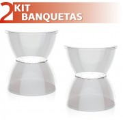KIT 2 BANQUETAS HYDRO ASSENTO CRISTAL BASE COLOR CRISTAL